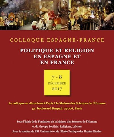 7-8 décembre  2017 – Colloque Espagne-France : Politique et religion en Espagne et en France