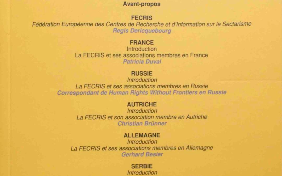 Juin 2017 – Acta Comparanda : Les mouvements antisectes et la laïcité – Le cas de la FECRIS
