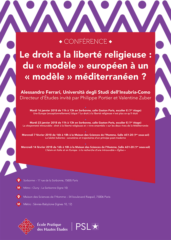 Vignette pour l'annonce du cycle de conférences : Le droit à la liberté religieuse :du « modèle » européen à un « modèle » méditerranéen ?