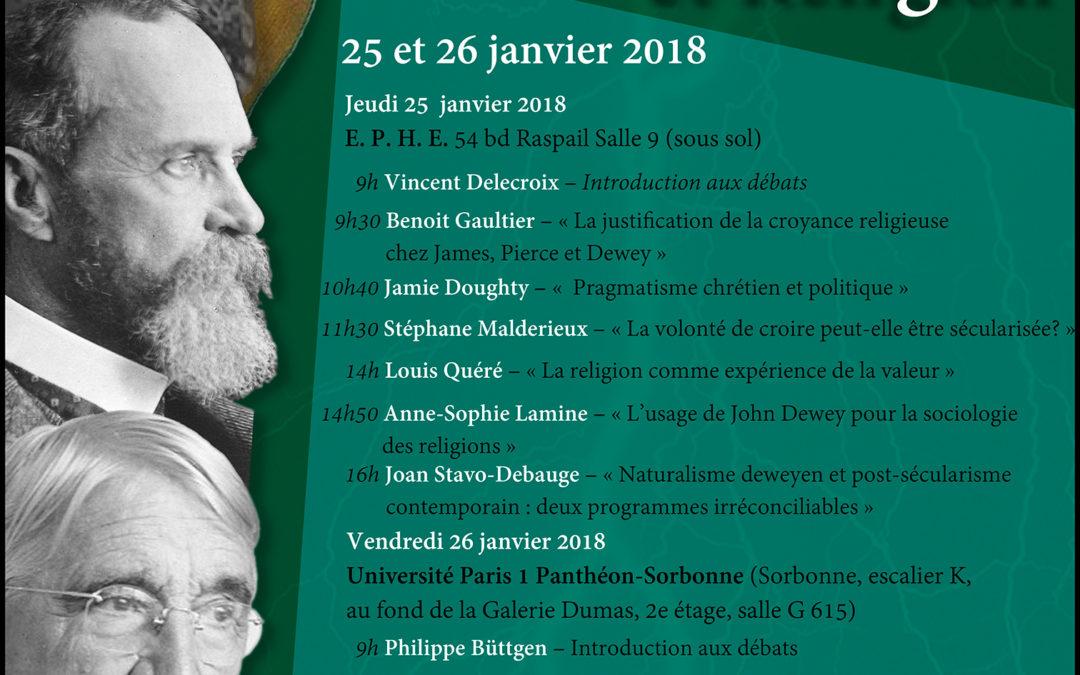 25 et 26 janvier 2018 – Colloque «Pragmatisme et religion»