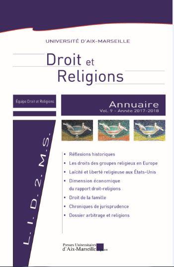 Couverture du volume 9 de l'ANNUAIRE DROIT ET RELIGION, 2017-2018, publié aux Presses universitaires d'Aix-Marseille