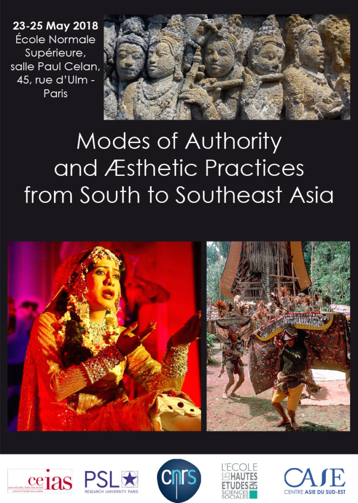 """Affiche :International Conference """"Modes of Authorityand Æsthetic Practices from South to Southeast Asia"""""""