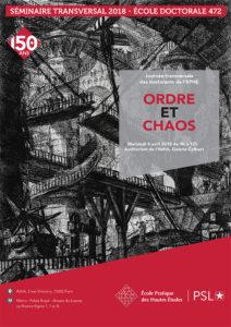 affiche journée transversale EPHE 2018 ordre et chaos