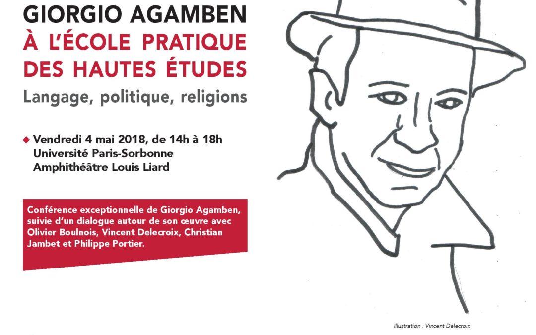"""4 mai 2018 – Conférence de Giorgio Agamben : """"Langage, politique, religions"""""""
