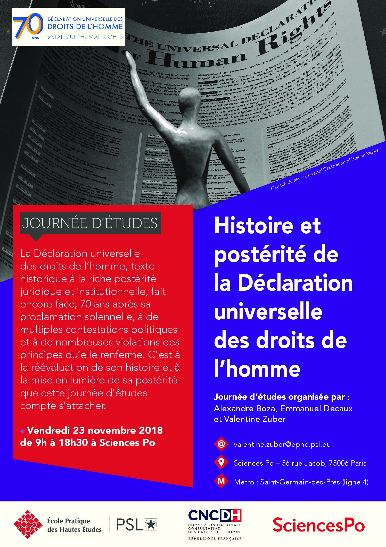 23 novembre – Journée d'études : Histoire et postérité de la Déclaration universelle des droits de l'homme