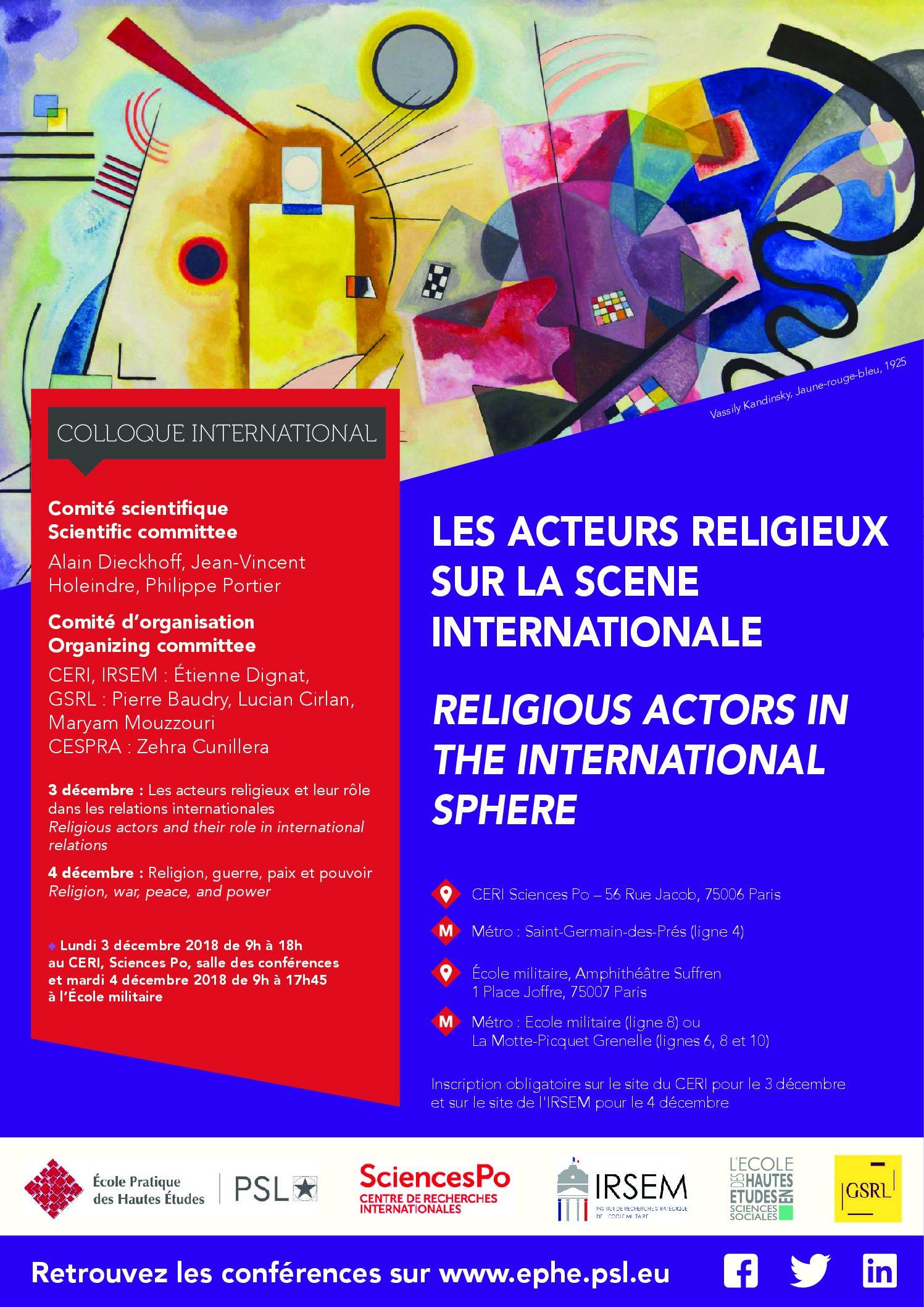 """3 décembre 2018 et 4 décembre 2018 – Colloque international : """"Les Acteurs Religieux sur la Scène Internationale"""" / """"Religious Actors in the International Sphere"""""""