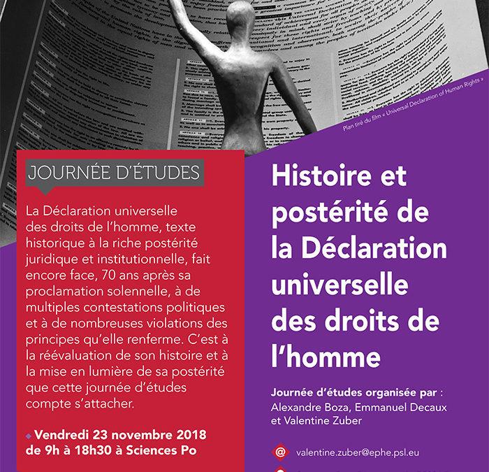 """23 novembre 2018 – Journée d'étude : """"Histoire et postérité de la Déclaration Universelle des droits de l'homme"""""""