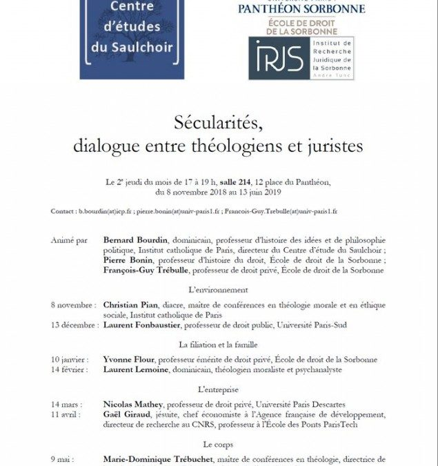 """Du jeudi 8 novembre 2018 au jeudi 13 juin 2019 – Séminaire : """"Sécularités, dialogue entre théologien et juristes"""""""