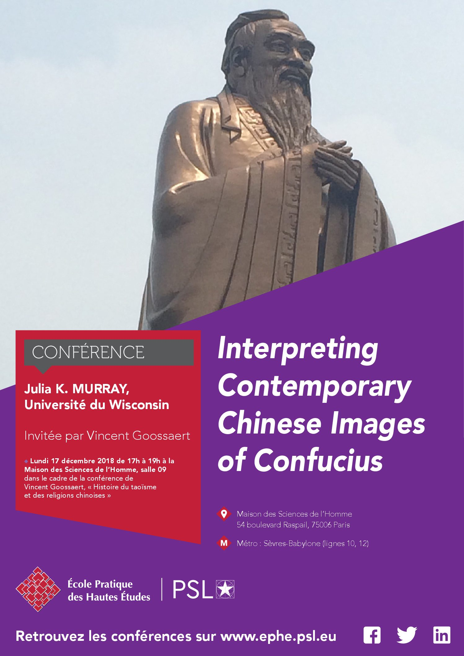 "Lundi 17 décembre 2018 – Conférence : ""Interpreting Contemporary Chinese Images of Confucius"""