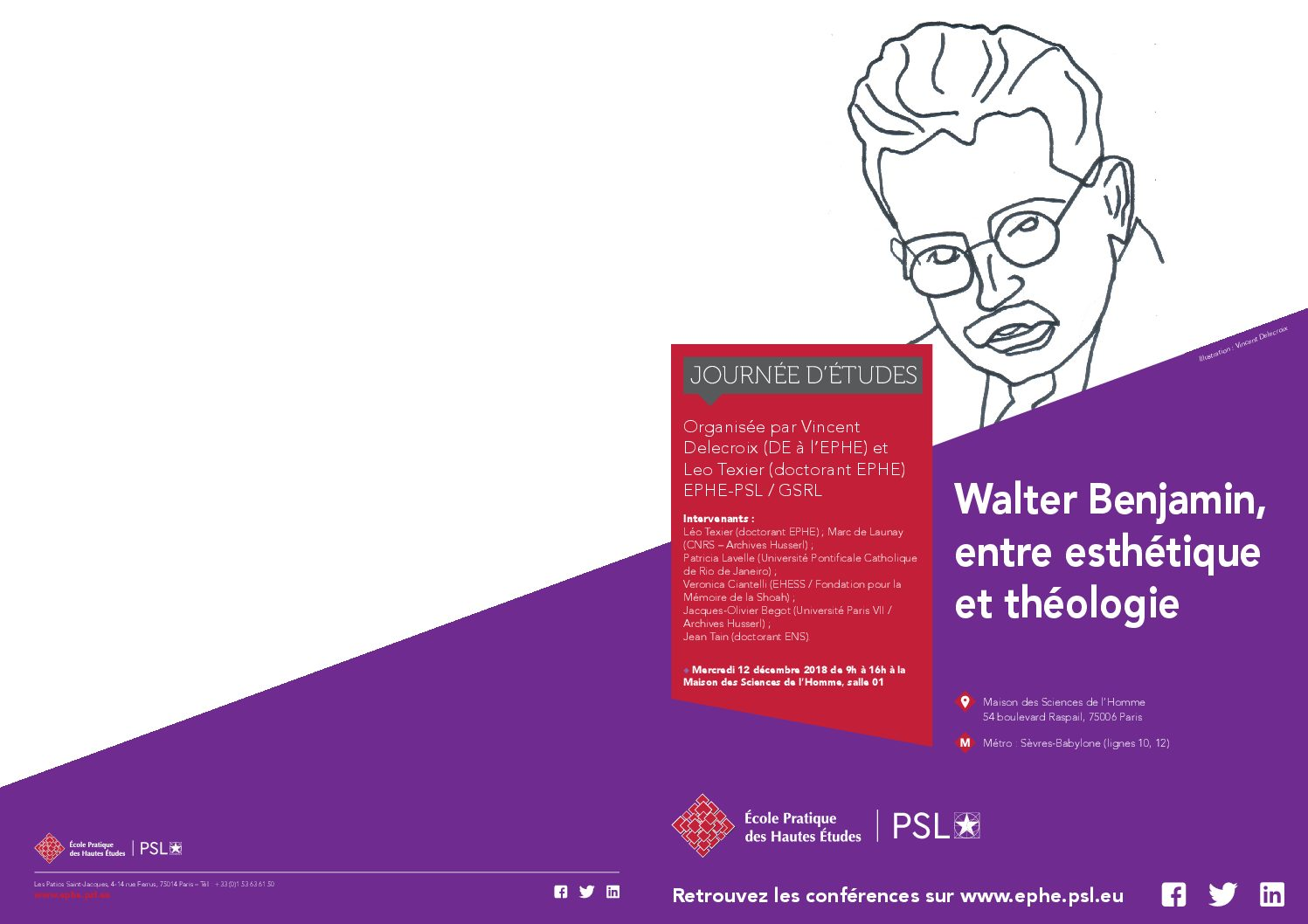 """Mercredi 12 décembre 2018 – Journée d'études : """"Walter Benjamin, entre esthétique et théologie"""