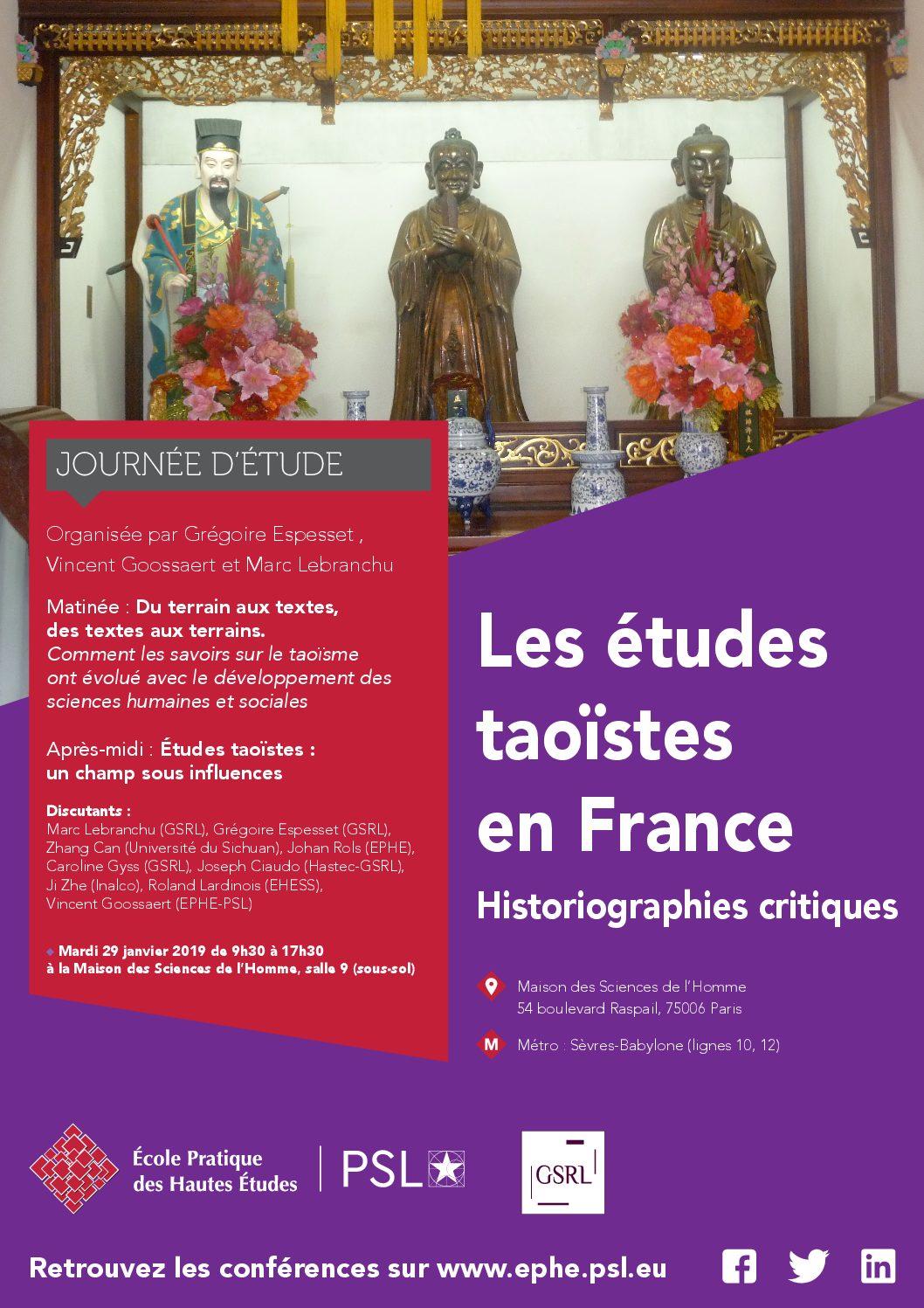 Mardi 29 janvier 2019 – Journée d'étude : Les études taoïstes en France : Historiographies critiques