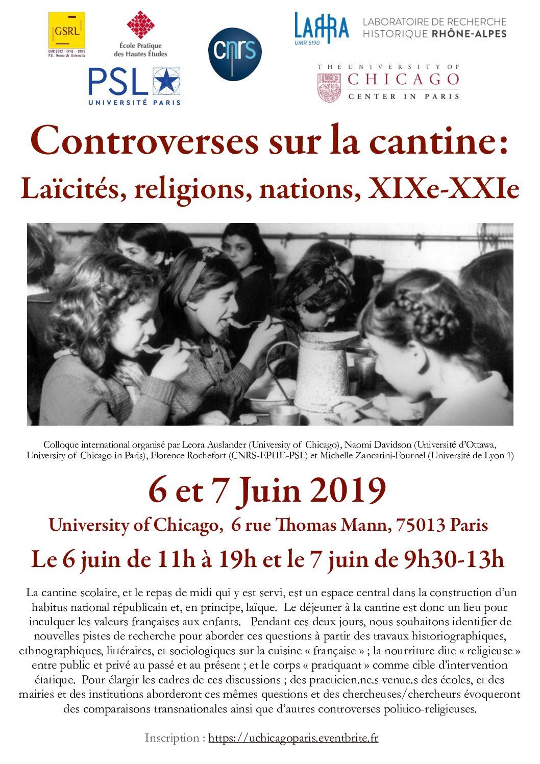 """6 et 7 juin 2019 – Colloque : """"Controverses sur la cantine : Laïcités, religions, nations, XIXe-XXIe"""""""