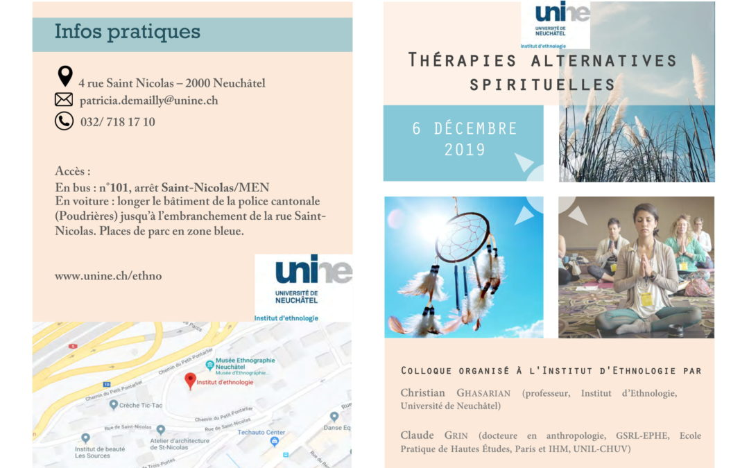 "6 décembre 2019 – Colloque : ""Thérapies alternatives spirituelles"""