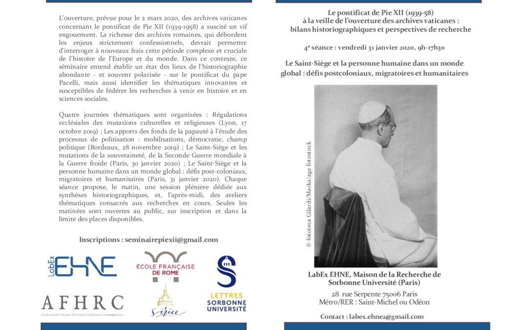 31 janvier 2020 – Journée d'étude consacrée à l'ouverture des archives Pie XII