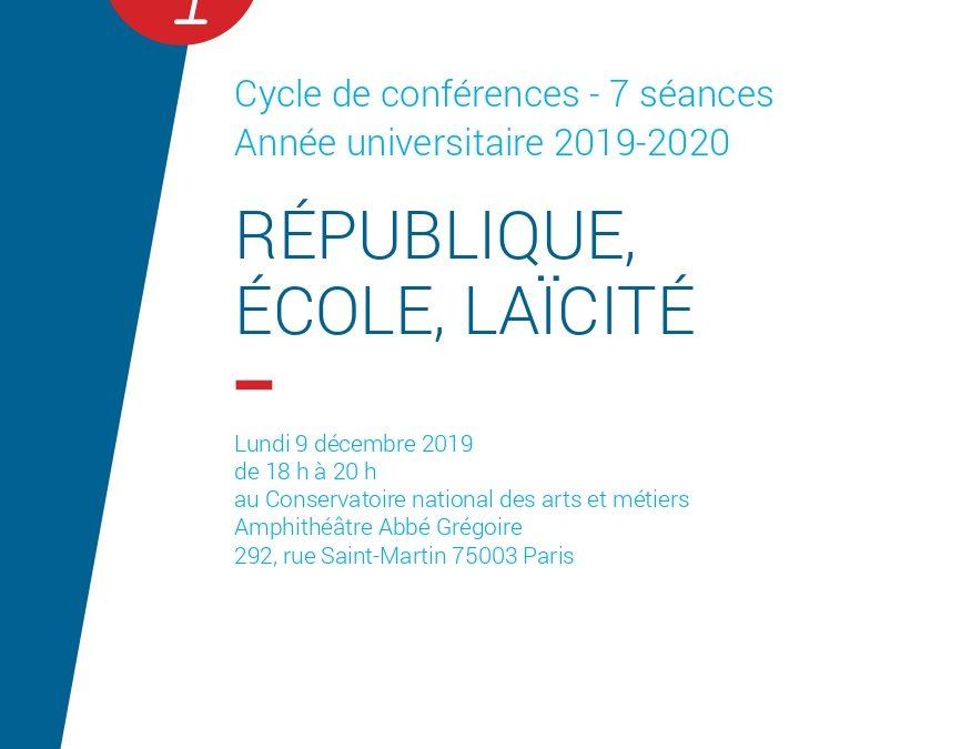 """Cycle de conférences """"République, École, Laïcité"""", année universitaire 2019-2020"""