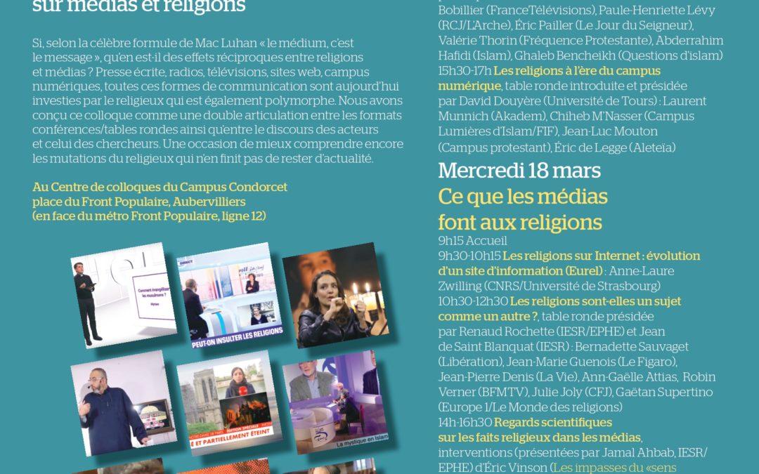 """17 et 18 mars 2020 – Colloque : """"Les religions sont-elles médiatiques"""""""
