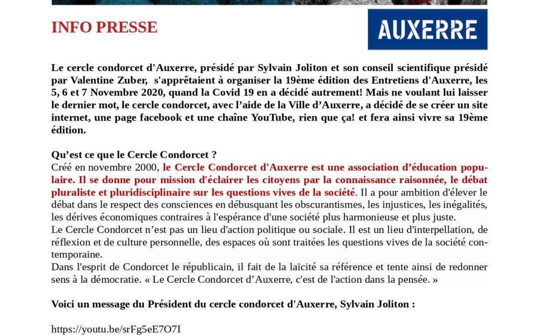 Mercredi 4 novembre 2020 – Les entretiens d'Auxerre 5-6-7 novembre 2020