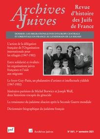 "Parution – ""Archives Juives"" volume 54 (2021/1)"